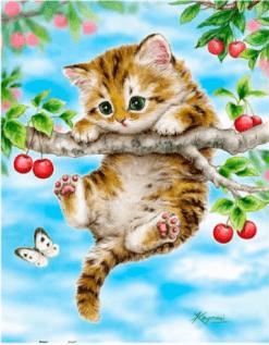 Diamond Painting - Kitten hangt aan een tak - FULL - 30x35