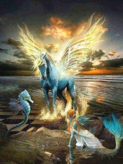 paard en zeemeermin diamond painting