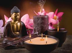 Diamond Painting - Boeddha met kaarsen en bloemen - 20x25 cm - FULL - Volledig
