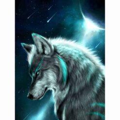 Diamond Painting - Wolf in maanlicht - 30x25 cm - FULL - Volledig, met vierkante steentjes