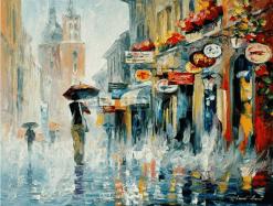 Stad in de regen - Veel verschillende kleuren Diamond painting - 30x25cm - Volledige bedekking - SEOS Shop