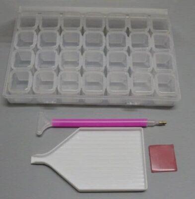 Diamond Painting Starter Kit - Opbergdoos - sorteerdoos 28 slot + Schudbakje + Extra brede pen + Wax - SEOS Shop ®