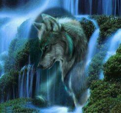 Diamond Painting - 5D - Wolf en waterval - FULL - 30x30 - SEOS Shop ®