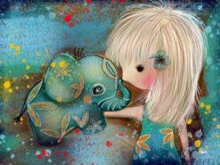 Diamond Painting Pakket Olifant met meisje - Volledig - Full - 40x30cm - SEOS Shop ®