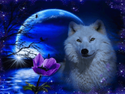 Diamond Painting Wolf in maanlicht - 40x30 cm