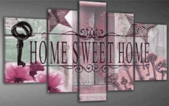 Diamond Painting Pakket Home Sweet Home Roze - 5 Luik - Volledig - Full