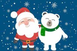 Kleine kerstman en kleine ijsbeer