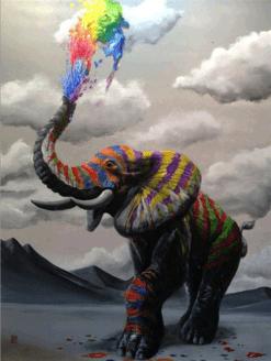 Olifant met Kleuren explosie