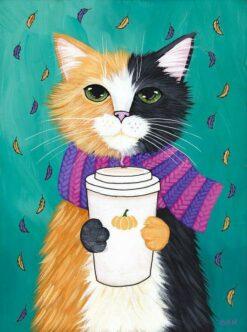 Getekende kat met beker