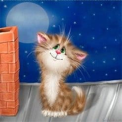 Kitten bij Schoorsteen