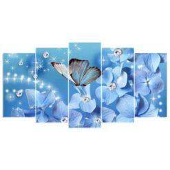 Vlinder op glinsterende bloem 5 luik