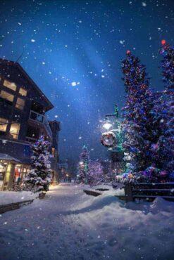Donker dorp met kerstboom