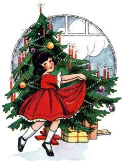 Kerstboom met meisje