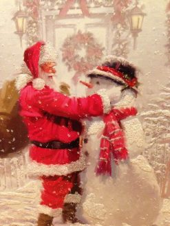 Kerstman met sneeuwpop - Kerst Diamond Painting - SEOS Shop ®