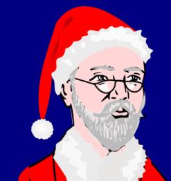 Kerstman portret schilderij