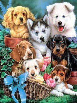Schattige Puppy's - Dieren Diamond Painting