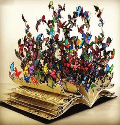 Gekleurde vlinders in een boek - Interieur Diamond Painting