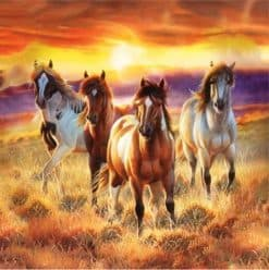 Diamond Painting Paarden met rode gloed - 40x40 cm